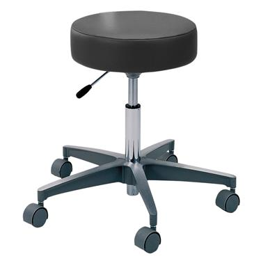 Exam Stool, Gas Cylinder, 5-Caster Aluminum Base, Black