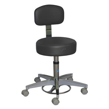 Stool, Gas Cylinder, Foot-Operated 5-Caster, Aluminum Base, w/Back, Black