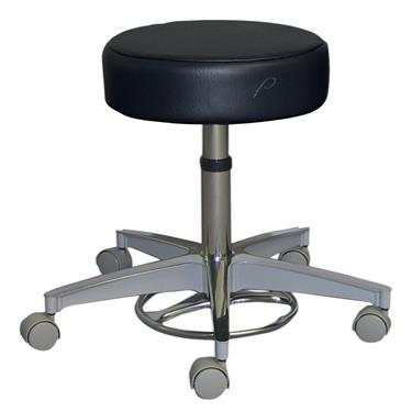 Stool, Gas Cylinder, Foot-Operated 5-Caster, Aluminum Base, without Back, Black