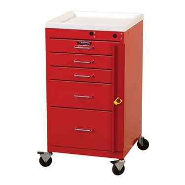 Mini Line Emergency Cart, 5 Drawers, Breakaway Lock