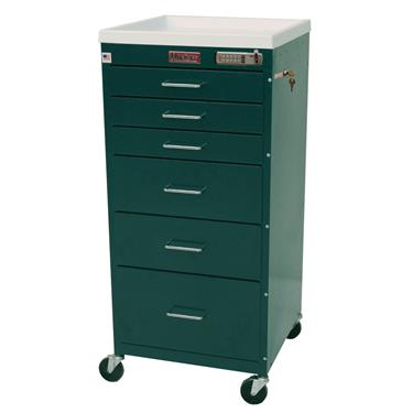 "Mini Line Procedure Cart, 30""H, 6 Drawers, 3"" Casters"