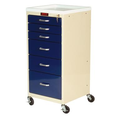 Mini Line Anesthesia Cart, 6 Drawers, Key Lock