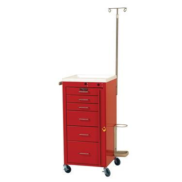 "Mini Line Emergency Cart, 6 Drawers, 5"" Casters, Specialty Pkg."