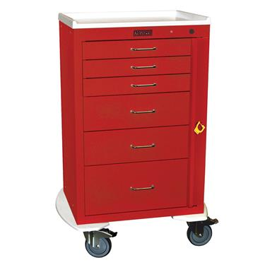 "Mini24 Emergency Cart, 6 Drawers, Bumper, 5"" Casters"