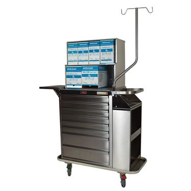 Deluxe Cast Cart, Stainless Steel, 8 Drawers, Top Compartment