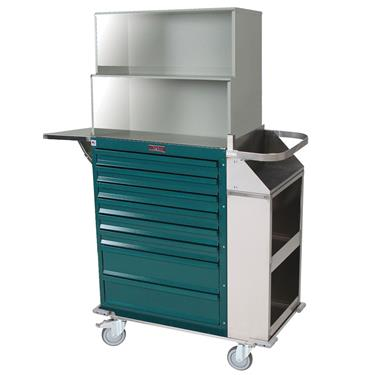 Deluxe Cast Cart, Painted Steel, 8 Drawers, Top Compartment