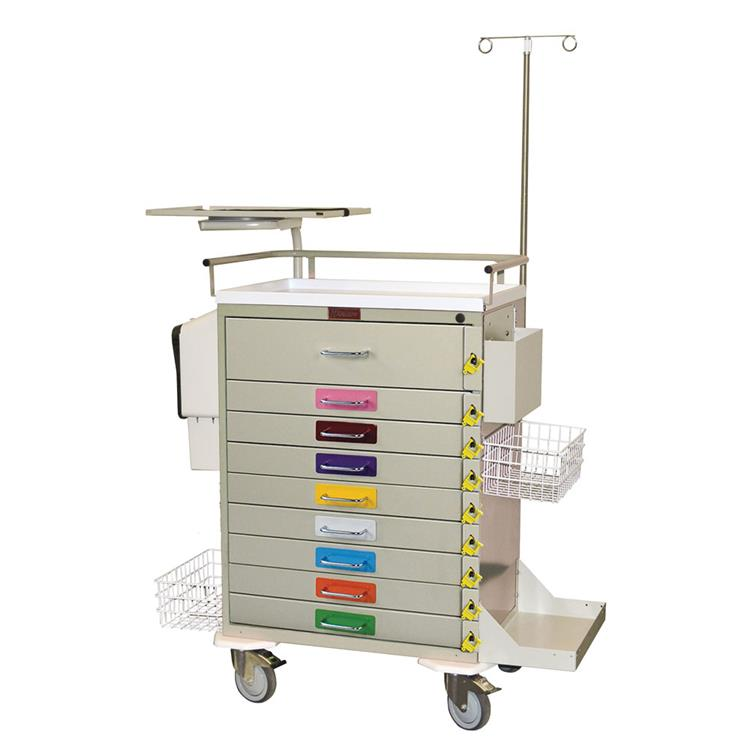 Pediatric Resuscitation Cart, 9 Drawers, Super-Stat Speciality Pkg.