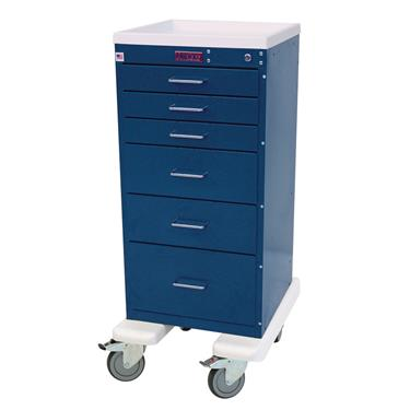 Mini Line Anesthesia Cart, Aluminum, 6 Drawers