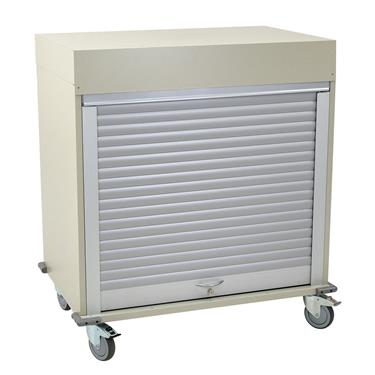 "Medical Storage Cart, 43.3""H, Double-Column, Tambour Door"