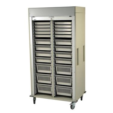 Medical Storage Cart, Double-Column, Tambour Door, Preconfigured Pkg.
