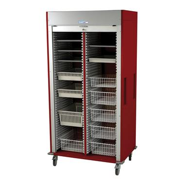 Medical Storage Cart, Double-Column, Tambour Door, Preconfigured