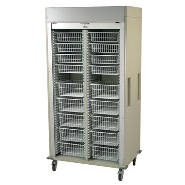 Medical Storage Cart, Double-Column, Wire Basket Preconfiguration