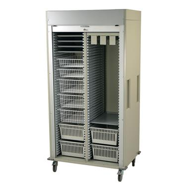 Medical Storage Cart, Double-Column, Wire Basket/Tray Preconfiguration