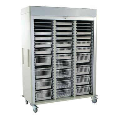 Medical Storage Cart, Triple-Column, Preconfigured