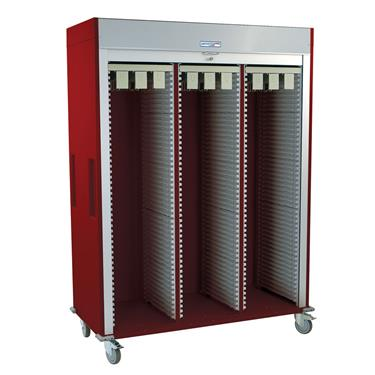 Catheter Procedure Storage Cart, Triple Column, Tambour Door
