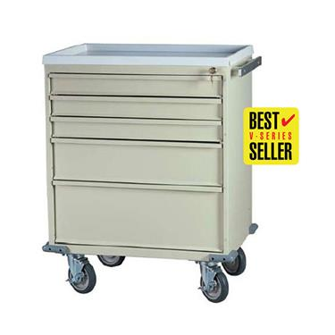 "Treatment Cart, 24""H, 5 Drawers, Removable AMR Plastic Top"