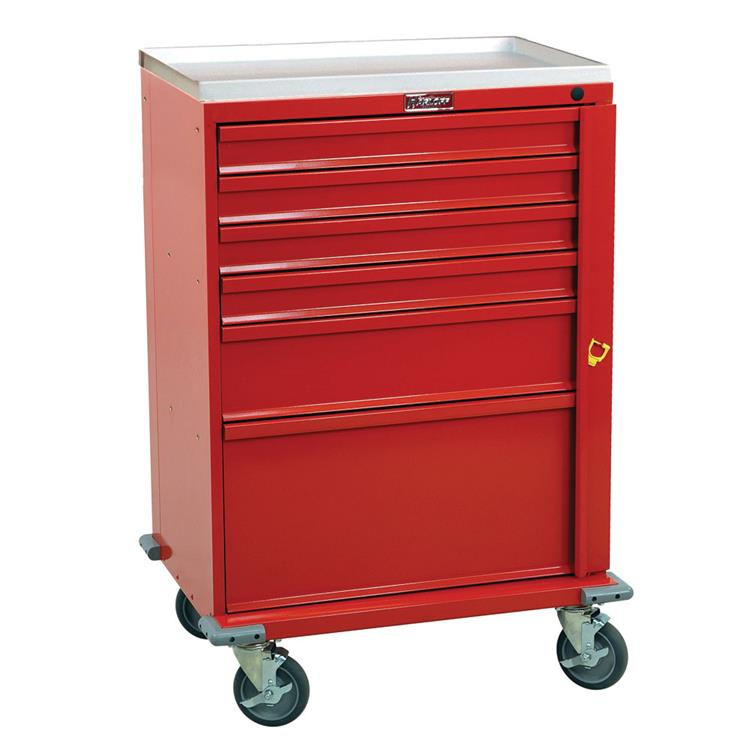 Emergency Crash Cart, 6 Drawers, Removable AMR Plastic Top